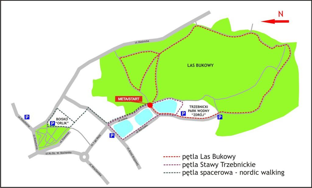 Mapa tras biegowych - Las Bukowy, Wzgórza Trzebnickie